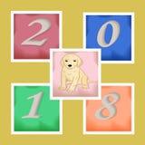 Νέες αυτοκόλλητες ετικέττες έτους s με ένα σκυλί και αριθμοί Στοκ φωτογραφίες με δικαίωμα ελεύθερης χρήσης