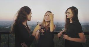 Νέες γυναίκες που κουβεντιάζουν και που πίνουν το κρασί στην κορυφή του κτηρίου με την καταπληκτική άποψη ηλιοβασιλέματος απόθεμα βίντεο