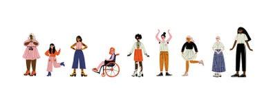 Νέες γυναίκες των διαφορετικών εμφανίσεων καθορισμένων, θηλυκοί χαρακτήρες που αγαπούν το σώμα τους, μόνη αποδοχή, ποικιλομορφία  απεικόνιση αποθεμάτων