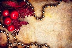 Νέες διακοσμήσεις έτους Χριστουγέννων Ορισμένο υπόβαθρο σχεδίου τέχνης Χριστουγέννων τρύγος Στοκ Εικόνες