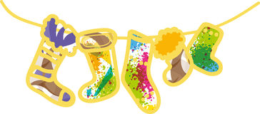 Νέες κάλτσες δώρων έτους απεικόνιση αποθεμάτων