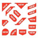 Νέες κορδέλλες Έμβλημα γωνιών, νέες ετικέτες ετικεττών και παρόν απομονωμένο διάνυσμα σύνολο κουμπιών διανυσματική απεικόνιση