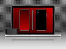 Νέες τηλεφωνικό μέτωπο και μαύρος και πλευρά, διανυσματικό σχήμα σχεδίων eps10 lap-top που απομονώνεται στο κόκκινο υπόβαθρο Στοκ φωτογραφία με δικαίωμα ελεύθερης χρήσης