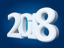 Νέοι άσπροι τρισδιάστατοι αριθμοί έτους του 2018 Στοκ εικόνα με δικαίωμα ελεύθερης χρήσης
