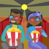 Νέοι αφρικανικοί φίλοι στα τρισδιάστατα γυαλιά που προσέχουν τον κινηματογράφο διανυσματική απεικόνιση