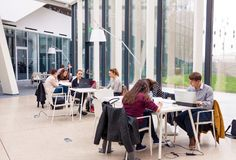 Νέοι ενήλικοι σπουδαστές που κάθονται στη σύγχρονη βιβλιοθήκη και τη μελέτη στοκ εικόνες