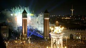 Νέοι εορτασμοί έτους σε Placa Espana απόθεμα βίντεο