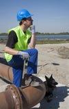 νέοι εργαζόμενος και σκυλί Στοκ εικόνα με δικαίωμα ελεύθερης χρήσης