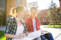 Νέοι ευτυχείς σπουδαστές με τα βιβλία και τις σημειώσεις υπαίθρια Στοκ Εικόνες