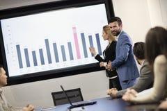 Νέοι ελκυστικοί επιχειρηματίας και επιχειρηματίας που παρουσιάζουν παρουσίαση στους συναδέλφους τους Στοκ φωτογραφίες με δικαίωμα ελεύθερης χρήσης