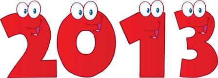 Νέοι κόκκινοι αστείοι αριθμοί έτους 2013 διανυσματική απεικόνιση