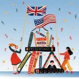 Νέοι με τα βιβλία, Βρετανοί και αμερικανικές σημαίες διανυσματική απεικόνιση