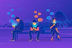 Νέοι που κάθονται στο πάρκο και τα texting μηνύματα στη συνομιλία που χρησιμοποιεί το κινητό smartphone διανυσματική απεικόνιση
