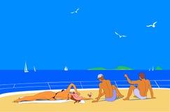 Νέοι που κάνουν ηλιοθεραπεία στη θάλασσα Στοκ εικόνες με δικαίωμα ελεύθερης χρήσης