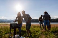 Νέοι που κατασκευάζουν BBQ στο λιβάδι όχθεων της λίμνης στοκ φωτογραφίες με δικαίωμα ελεύθερης χρήσης