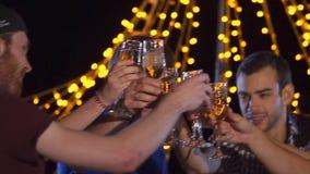 Νέοι που το κόμμα γυαλιών τη νύχτα απόθεμα βίντεο