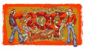 Νέοι στα καπέλα των γκράφιτι γραψίματος Άγιου Βασίλη Συρμένες το 2017 και Χαρούμενα Χριστούγεννα Στοκ Εικόνες