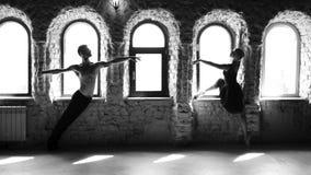 Νέοι σύγχρονοι χορευτές μπαλέτου που θέτουν στο υπόβαθρο στούντιο απόθεμα βίντεο