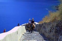 Νέοι τουρίστες που οδηγούν τους γαιδάρους στο ελληνικό νησί Στοκ εικόνα με δικαίωμα ελεύθερης χρήσης