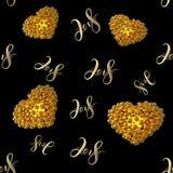 Νέοι του 2018 αριθμοί αριθμού εγγραφής έτους χρυσοί που απομονώνονται στο μαύρο άνευ ραφής υπόβαθρο σχεδίων τρισδιάστατη απεικόνι Στοκ Φωτογραφία