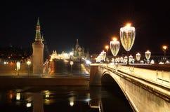 Νέοι φωτισμοί έτους ` s στην κεντρική Μόσχα, Ρωσία στοκ φωτογραφίες με δικαίωμα ελεύθερης χρήσης