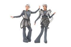 Νέοι χορευτές στο φανταστικό απομονωμένο κοστούμια πυροβολισμό στοκ φωτογραφία με δικαίωμα ελεύθερης χρήσης
