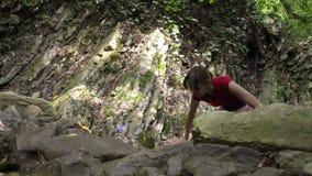 Νέοι όμορφοι ξυπόλυτοι περίπατοι γυναικών στο δάσος βουνών στον ποταμό απόθεμα βίντεο