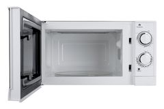 Νέος άσπρος φούρνος μικροκυμάτων που απομονώνεται στο άσπρο υπόβαθρο Στοκ Φωτογραφίες