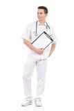 Νέος αρσενικός γιατρός με μια περιοχή αποκομμάτων Στοκ Εικόνα