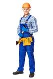 Νέος αρσενικός εργάτης οικοδομών με το σφυρί Στοκ εικόνα με δικαίωμα ελεύθερης χρήσης