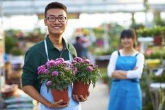Νέος ασιατικός ανθοκόμος δύο που εργάζεται στο κατάστημα στοκ φωτογραφίες