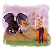 Νέος βασιλιάς και μαγικός δράκος Στοκ φωτογραφίες με δικαίωμα ελεύθερης χρήσης