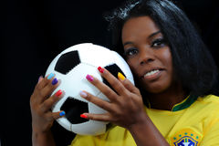 Νέος βραζιλιάνος οπαδός ποδοσφαίρου Στοκ εικόνα με δικαίωμα ελεύθερης χρήσης