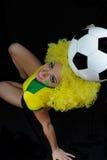 Νέος βραζιλιάνος οπαδός ποδοσφαίρου Στοκ φωτογραφία με δικαίωμα ελεύθερης χρήσης