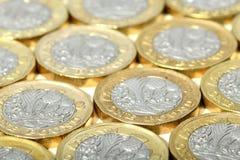 Νέος βρετανικά νομίσματα λιβρών Στοκ εικόνα με δικαίωμα ελεύθερης χρήσης