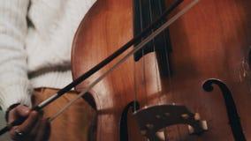Νέος γενειοφόρος μουσικός στο πλεκτό turtleneck παιχνίδι contrabass με το fiddlestick απόθεμα βίντεο