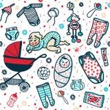 Νέος - γεννημένο άνευ ραφής σχέδιο μωρών Διανυσματική απεικόνιση