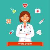 Νέος γιατρός καρδιολόγων Σύνολο εικονιδίων ιατρικής Στοκ Φωτογραφίες