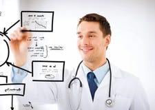 Νέος γιατρός που εργάζεται με κάτι φανταστικό Στοκ φωτογραφία με δικαίωμα ελεύθερης χρήσης