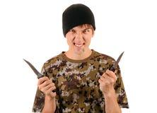 Νέος γκάγκστερ με ένα μαχαίρι Στοκ φωτογραφίες με δικαίωμα ελεύθερης χρήσης