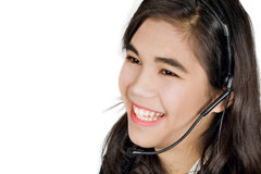 Νέος γυναίκα ή έφηβος με την κάσκα Στοκ φωτογραφία με δικαίωμα ελεύθερης χρήσης
