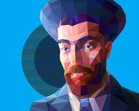 Νέος Εβραίος στο χαμηλό ύφος πολυγώνων απεικόνιση αποθεμάτων