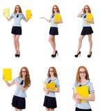 Νέος επιμελής σπουδαστής με τα εγχειρίδια που απομονώνεται στο λευκό Στοκ φωτογραφίες με δικαίωμα ελεύθερης χρήσης
