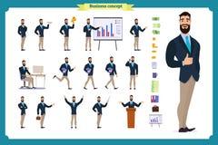 Νέος επιχειρηματίας Διαφορετικός θέτει και συγκινήσεις, τρέξιμο, στάση, κάθισμα, περπάτημα, ευτυχής, ελεύθερη απεικόνιση δικαιώματος
