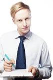 Νέος επιχειρηματίας με τη μάνδρα και τα έγγραφα, που απομονώνεται Στοκ Εικόνα