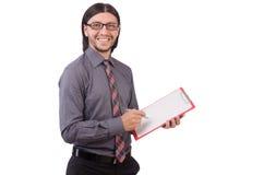 Νέος επιχειρηματίας με το έγγραφο που απομονώνεται στο λευκό Στοκ φωτογραφία με δικαίωμα ελεύθερης χρήσης