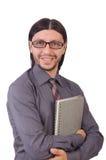 Νέος επιχειρηματίας με το έγγραφο που απομονώνεται στο λευκό Στοκ Φωτογραφία