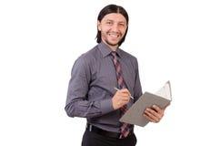Νέος επιχειρηματίας με το έγγραφο που απομονώνεται στο λευκό Στοκ εικόνα με δικαίωμα ελεύθερης χρήσης