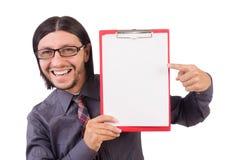 Νέος επιχειρηματίας με το έγγραφο που απομονώνεται στο λευκό Στοκ εικόνες με δικαίωμα ελεύθερης χρήσης