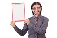 Νέος επιχειρηματίας με το έγγραφο που απομονώνεται στο λευκό Στοκ Εικόνες